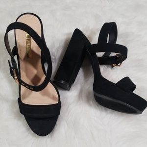 "Liliana black suede platform sandals 5""heel Size 8"